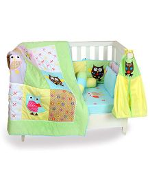 The Button Tree Baby Owl Cot 7 Piece Set - Multicolour