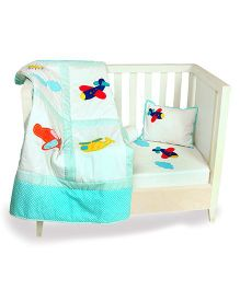 The Button Tree Lets Fly Cot 5 Peices Set - White & Sky Blue
