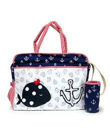 The Button Tree Baby Boo Sailor Diaper Bag - Off White Red & Navy Blue