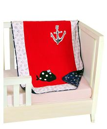 The Button Tree Baby Boo Sailor Baby Blankets - Off White Red & Navy Blue