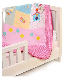 The Button Tree Tree House Garden Baby Quilt Cover - Pink & Multicolour