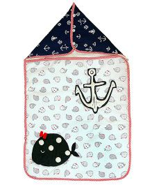 The Button Tree Baby Boo Sailor Sleeping Bag - Off White Red & Navy Blue