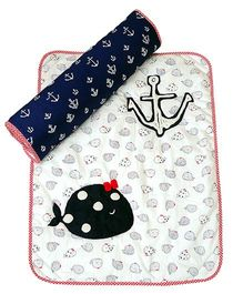 The Button Tree Baby Boo Sailor Baby Mats Sets - Off White Red & Navy Blue