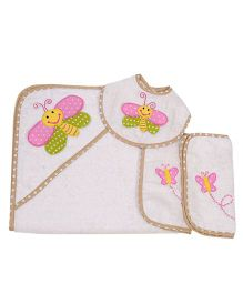 The Button Tree Butterfly Smily Baby Hooded Towel Sets - Pink & Multicolour