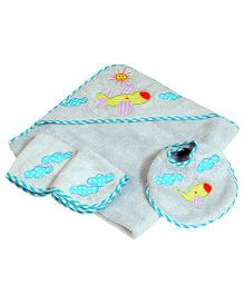 The Button Tree Lets Fly Baby Hooded Towel Sets - Bluish Green
