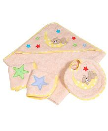 The Button Tree Sleepy Boo Baby Hooded Towel Sets - Peach & Yellow