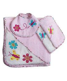 The Button Tree Candy Floss Fly Baby Hooded Towel Sets - Purple