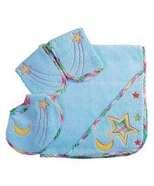 The Button Tree Moon Star Baby Hooded Towel Sets - Blue