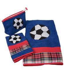 The Button Tree Football Print 3 Piece Towel Sets - Bright Blue