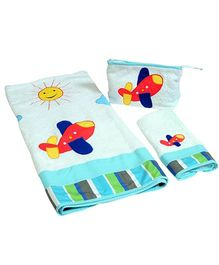 The Button Tree Lets Fly 3 Piece Towel Sets - Multicolour