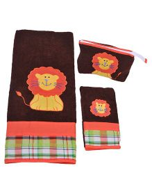 The Button Tree Lion Snug 3 Piece Towel Sets - Multicolour