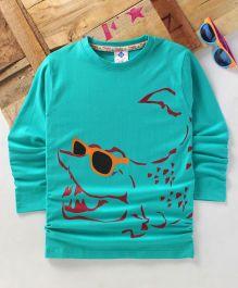 Tonyboy Fluo Croc Printed Full Sleeve T-Shirt - Light Blue