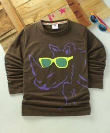 Tonyboy Fluo Rhino Printed Full Sleeve T-Shirt - Dark Brown