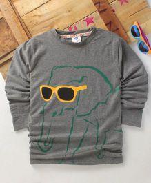Tonyboy Fluo Elephant Printed Full Sleeve T-Shirt - Grey