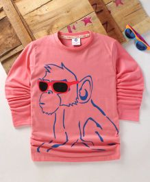 Tonyboy Fluo Monkey Printed Full Sleeve T-Shirt - Peach