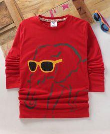 Tonyboy Fluo Elephant Printed Full Sleeve T-Shirt - Red