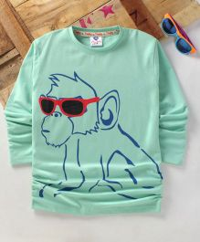 Tonyboy Fluo Monkey Printed Full Sleeve T-Shirt - Sea Green