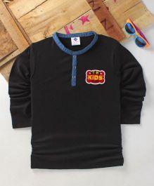 Tonyboy Boys Denim Collared Full Sleeve T-Shirt - Black