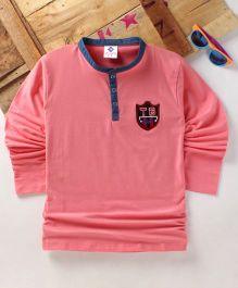 Tonyboy Boys Denim Collared Full Sleeve T-Shirt - Peach