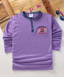 Tonyboy Boys Denim Collared Full Sleeve T-Shirt - Purple
