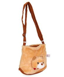 IR Purse With Cat Face Applique - Cream Brown