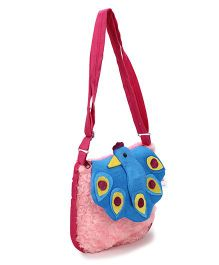IR Purse With Peacock Design - Pink & Blue