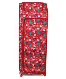 Kids Zone Big Jinny Folding Almirah With Let's Go To The Zoo Print - Red