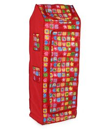 Kids Zone Big Jinny Folding Almirah With Multi Print - Red