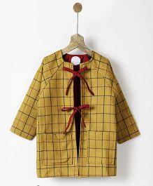 Pluie Front Tie Ocher Tweed Jacket - Ocher Yellow