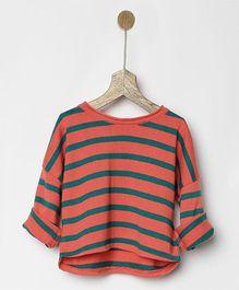Pluie Striped Sweatshirt - Orange & Teal Green