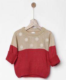Pluie Polka Dots Color Block Sweatshirt - Beige & Red
