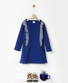 Pluie Fleece Ruffle Dress With Pockets - Blue