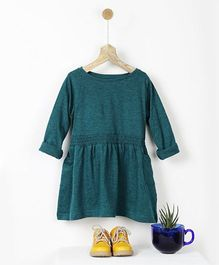 Pluie Smocked T-Shirt Dress - Teal Green