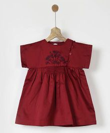 Pluie Embroidered Smocked Dress - Maroon