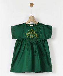 Pluie Embroidered Smocked Dress - Green