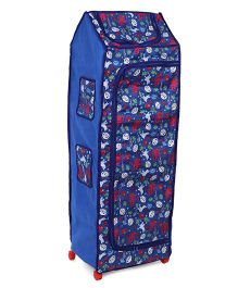 Kids Zone Big Jinny Folding Almirah With Let's Go To The Zoo Print - Blue