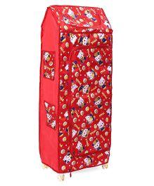 Kids Zone Hum Tum Multi Purpose Almirah Kitty Print - Red