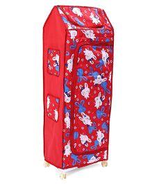 Kids Zone Hum Tum Multi Purpose Almirah Bunny Print - Red