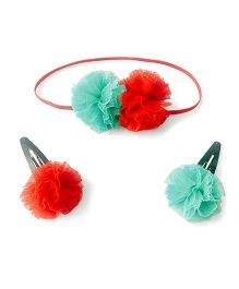 Knotty Ribbons Pom Pom Headband & Snap Clip Set - Red & Green