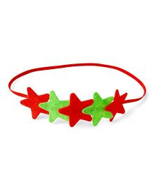 Knotty Ribbons Star Headband - Red & Green