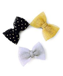 Knotty Ribbons Polka & Shiny Bows Alligator Clips - Black Silver & Golden