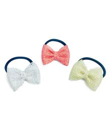 Knotty Ribbons Shiny Bow Hair Ties - Red Silver & Golden