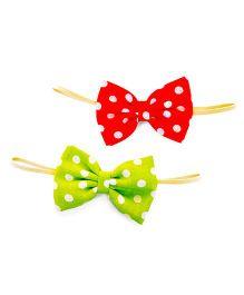Knotty Ribbons Handmade Polka Dot Bow Headband - Red & Green