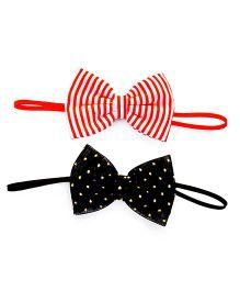 Knotty Ribbons Handmade Bow Headband - Red & Black