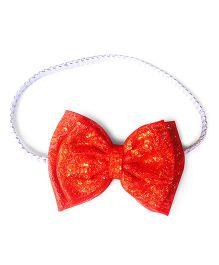 Knotty Ribbons Glitter Bow Headband - Orange