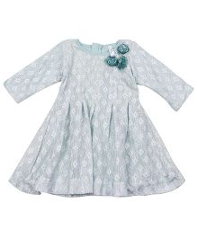 Lil'Posh Full Sleeves Party Dress Floral Applique - Sea Green