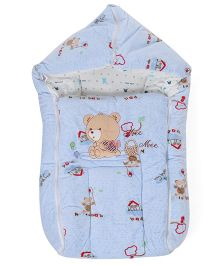 Mee Mee Hooded Carry Nest Bear Embroidery - Blue