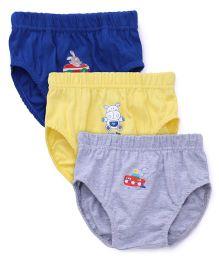 Babyhug Multi Print Briefs Pack Of 3 - Grey Yellow Blue