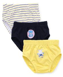 Babyhug Briefs Teddy & Stripes Print Pack Of 3 - Navy Yellow White