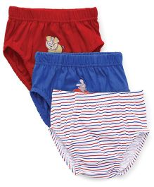 Babyhug Briefs Multi Print Pack Of 3 - Red Royal blue White